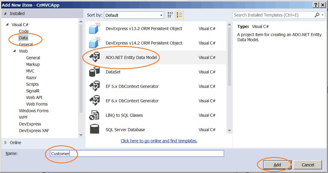 Create ADO.NET Entity Model