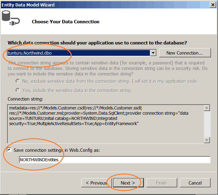 Entity Data Model Choose Your Data Connection