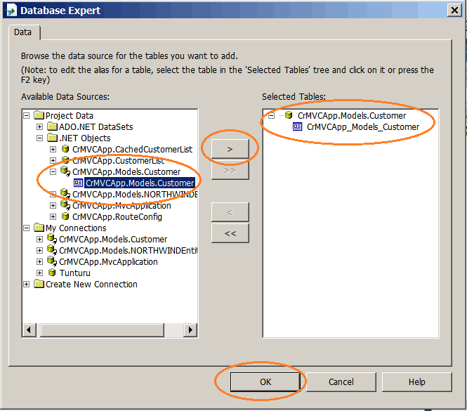 Database Export Add Datasource to the Report