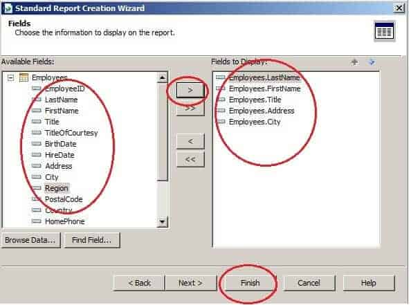 Create Your First Crystal Report - Select Fields