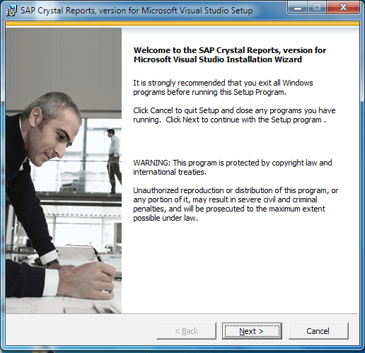 Crystal Report Installation Welcome Screen